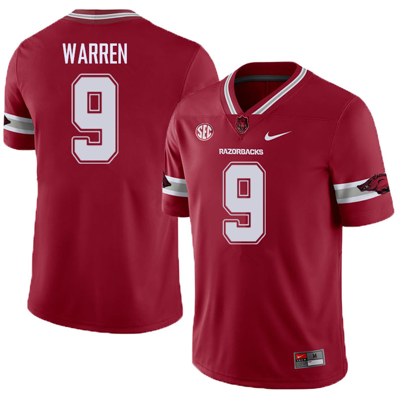 Men #9 De'Vion Warren Arkansas Razorback College Football Alternate Jerseys Sale-Cardinal